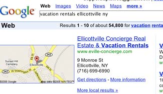 Google Search for Vacation Rentals Ellicottville NY