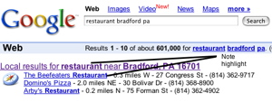Google Local (Google Maps) Title Example