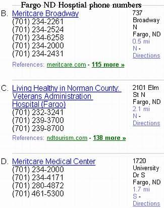 Fargo Hosptial Phone numbers