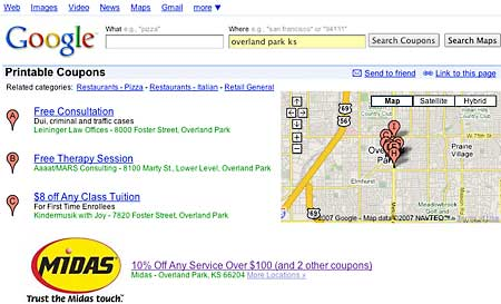Google Coupon Search Interface