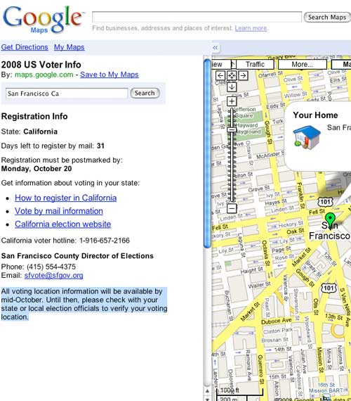 Google Voter Mapplet