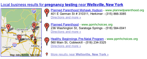 Pregnancy testing Wellsville results in google