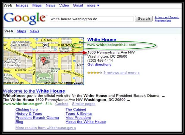 Google Maps: Whitehouse Listing Most Recent Hijack Victim