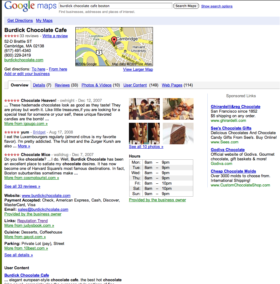 Google Maps Tabbed View