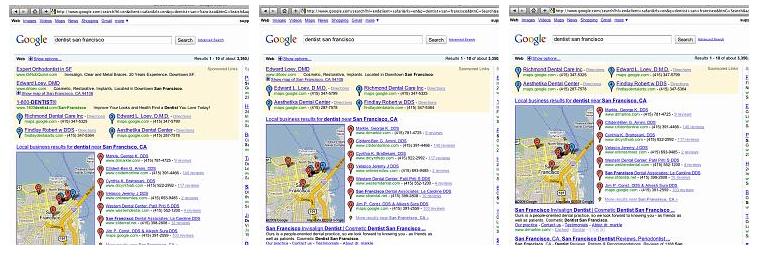 Google Local Listing Ad Display Variations