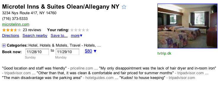 Google Places Booking Capability
