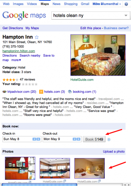 Google Places Page Hotel Booking Upgrade