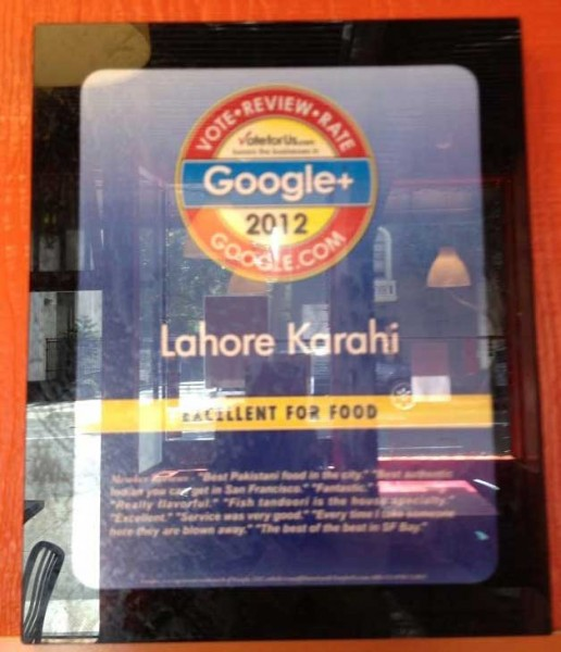 Google Plaque for Excellent Food