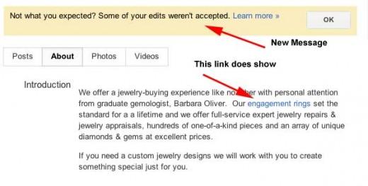Google + Local editing message