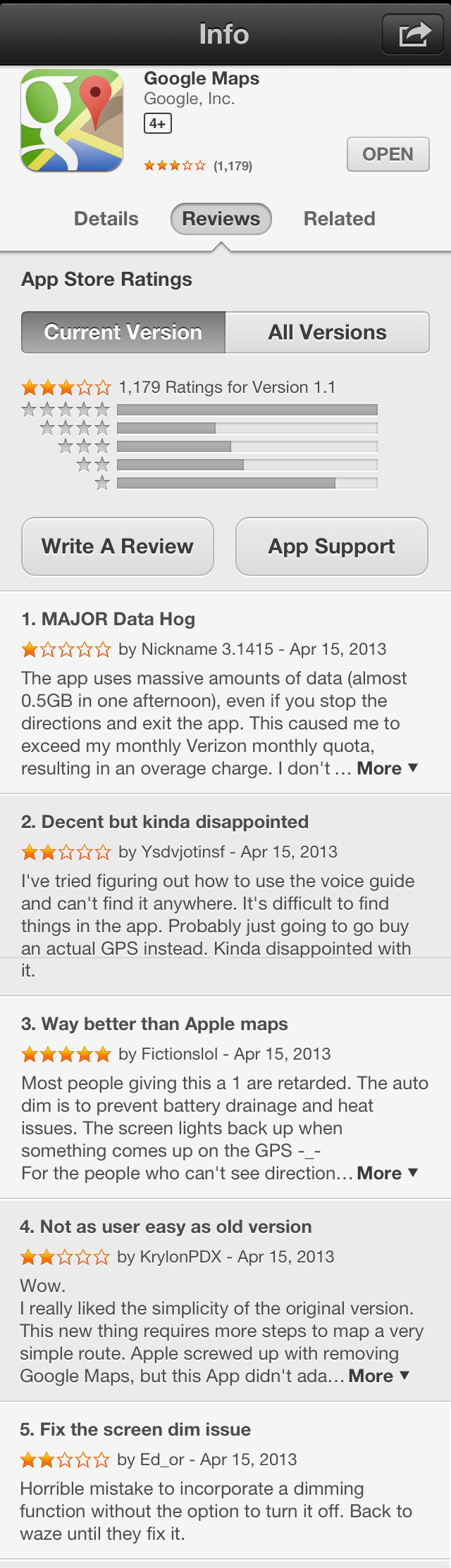google-maps-for-iPhone-reviews