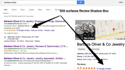 Brand Search still directs to the Review Shadow Box
