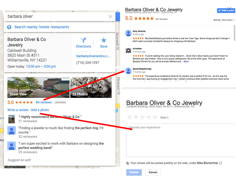 Write reviews and add ratings of places