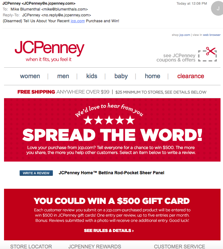 d42cd31fb JC Penny s Offers  500 Sweepstake Entry for a Review – Is it legal