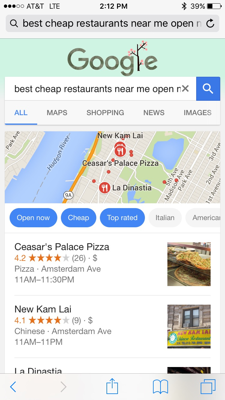 Google Local Restaurant Search Autofilters on Best, Cheapest