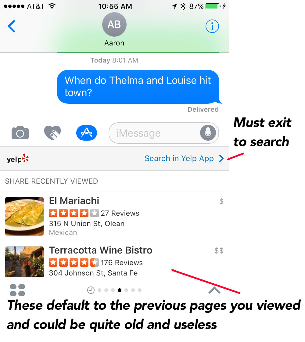 Why is Yelp Failing at the iMessage App Game? Because They are