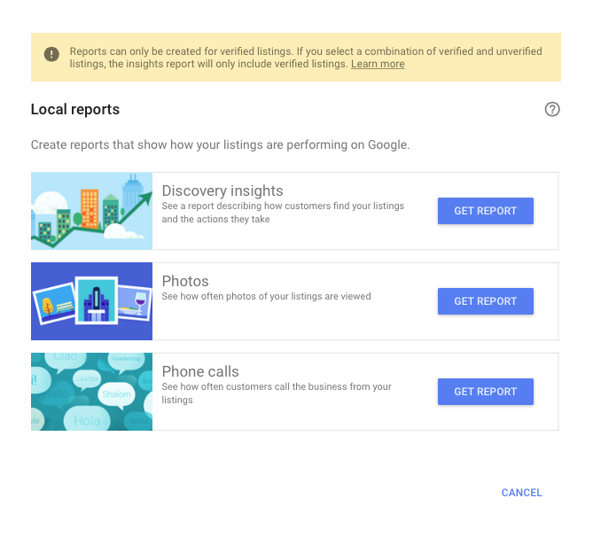 Google My Business Updates Insights Download Reports
